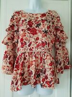Womens M&S Cream Chilli Floral Frilly Loose Oversize Bohemian Smock Blouse Top10