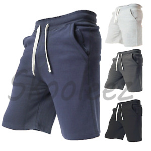 Mens Plain Fleece Shorts Elasticated Gym Sweat Jogging Running M-XXL