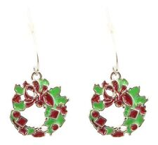 Zest Glittered Christmas Wreath Drop Earrings for Pierced Ears Green and Red