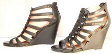 Vince Camuto Wedge Gladiator Size 10B Black Leather Upper Open Toe Zipper Back