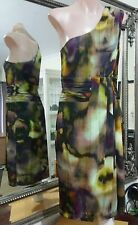 George Jersey Dress.Sz10.One shoulder.Dsgn & Md in Aus.Rouged waist.Good condit