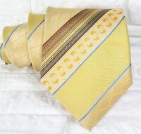 Gold bronze blue wide Neck tie silk striped Morgana Italy business/ wedding