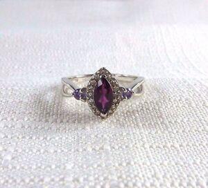 0.92ct Natural Rhodolite Garnet,Purple Amethyst/White Topaz Sterling Silver Ring
