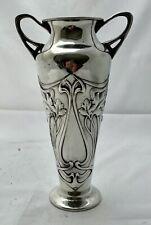 "nice large  wmf art nouveau pewter whiplash flower vase 9.5"" tall signed a/f"