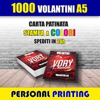 1000 VOLANTINI A5 CARTA PATINATA 130gr ( 15 X 21 cm ) A COLORI STAMPA HD QUALITY