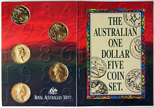 1984 - 1992 The Australian $1 Five Coin Set includes 1992 Barcelona Olympics $1