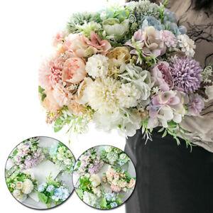 1 Bundle Artificial Rose Silk Flowers Wedding Bridal Bouquet Anniversary Prom