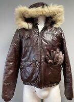 RARE 1970 BACHRACHS Retro Burgundy Leather Fox Fur Hood Bomber Jacket 40 w Glove