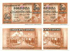 LOTE DE GUERRA CIVIL (NOTGELD)(SOLSONA) 50 CÉNTIMOS DE 1937 (SC)
