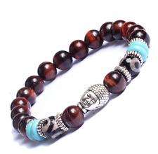 Gemstone Beads Bracelet Buddha Charm Bracelet Men Women Natural Lava Rock Agate