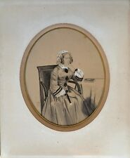 Portrait Femme Photo sur papier rehaussé Daguerréotype par Fergeau Paris c1850-5