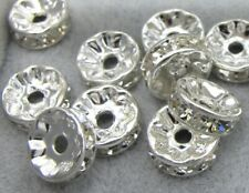 🎀 3 FOR 2 🎀 100 Silver Rhinestone Rondelle Spacer Beads, 6mm, 7mm or 8mm