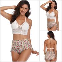 Women Knit Bikini Swimsuit Swimwear Beachwear Halter Backless High Waist Padded