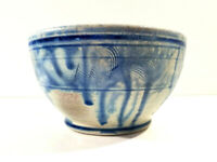 Vintage Art Pottery Drip Glaze Bowl Brown and Blue Signed MJ