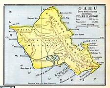 "Original 1899 Oahu Hawaii Map/ ""Showing Pearl Harbor"""