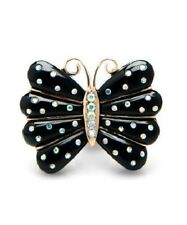 Betsey Johnson Crystal Butterfly Black Statement Double Ring SIZE 8 NWT
