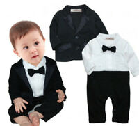 StylesILove Baby Boy Cotton Tuxedo Romper and Jacket 2pcs Formal Wear Suit 3-24M