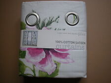 "NEXT CURTAINS VIBRANT EXOTIC FLORAL VINTAGE SHABBY CHIC EYELET LINED 66X90"" WIDE"