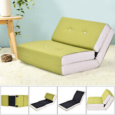 Fold Down Chair Flip Out Lounger Convertible Sleeper Bed Couch Game Dorm Green
