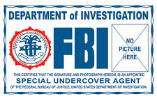 Undercover Agent Xfiles X-Files novelty ID card Identification Card I.D. card