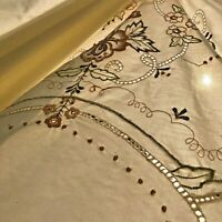 Vintage Tablecloth 104x68 Hand Embroidered Crochet Cutwork Lace Beige Rose Gold
