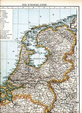 Nederland Niederlande 1893 gr. Atlas-Karte Maastricht Arnhem Middelburg Utrecht