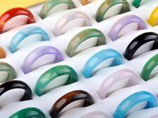 Wholesale Lots Fashion 50pcs Mixed Colorful Natural Agate Gemstone Rings Band