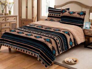 Southwest Aztec Sherpa Borrego Fleece Blanket  3-Piece Set Western Lodge Rustic
