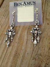 Ben-Amun Swarovski Crystal Earrings By Isaac Manevitz Signed Bridal