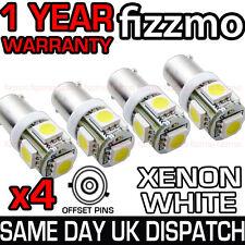4x 5 SMD LED XENON WHITE SIDE LIGHT BULB 433c H6W BAX9S CAP BAYONET 360 DEG UK