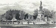 Antique print grabado antiguo Fuente fountain Iglesia San Antonio Aranjuez 1870