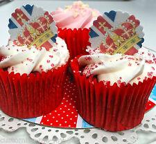 12 Pre Cut Crown & Union Jack Edible Pop Top Cupcake Toppers decorations