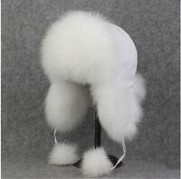 Mens Womens genuine White Fox Fur hat Cap Trapper Russian Style Warm New  Winter