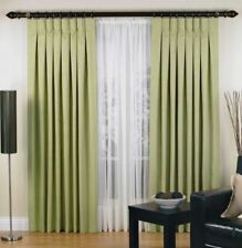 Elysian Small Urban Pinch Pleat Curtain 2 Panel Jacquard Blockout Fabric Sage
