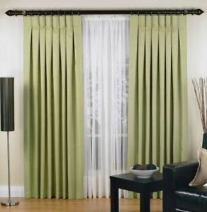 Elysian Large Urban Pinch Pleat Curtain 2 Panel Jacquard Blockout Fabric Sage