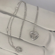 .02 Carat Dancing Diamond Heart Necklace 18K White Gold Sep