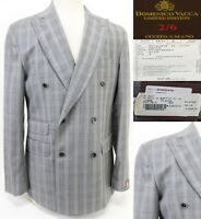 Domenico Vacca NWT $3,900 Men's Double Breasted Blazer Size 44 Plaids Wool Gray