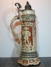"Antique 2L German Beer Stein with Music Box Base - * 866 - ""Lovers"" by Gerz 18"""