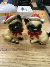 Vintage Kreiss Japan Santa Cat Kitten Salt Pepper Shaker Set Siamese Ceramic