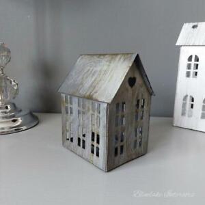 Grey Distressed Finish Metal House Tea Light Candle Holder