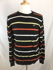 Lacoste Crewneck Sweater Aligator Striped Black Orange White Size M FLAWS