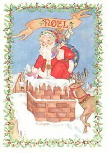 Merry Christmas Spirit Santa Claus & Reindeer Chimney Sunshine Cards - Set of 19
