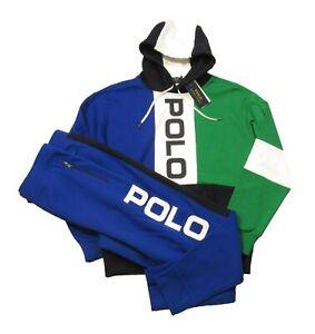 Polo Ralph Lauren Big & Tall Blue Multi Colorblock Mesh Hoodie & Jogger Pant Set