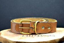 Vintage Handmade Mens Real Leather Belt Brown Size 34