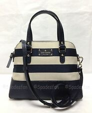 Kate Spade WKRU2338 Grove Court Stripe Maise Bag NATURAL MIDNIGHT Navy NWT