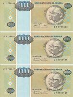 Group Lot 3 Sequential Vintage Crisp UNC Banknote Angola 1995 1000 Kwanzas 135