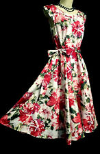 LAURA ASHLEY 1950s HEPBURN STYLE VIVID RED/WHITE  FLORAL SUMMER DRESS, UK 10/12