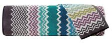 MISSONI 'Rufus (Blue)' Zig-Zag Stripe Luxury Bath & Hand Towel Set of 2 Pcs NWT!