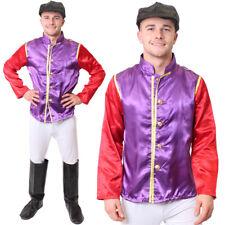 MENS JOCKEY COSTUME HORSE RACING FANCY DRESS PURPLE TOP TROUSERS GOGGLES BOOTS