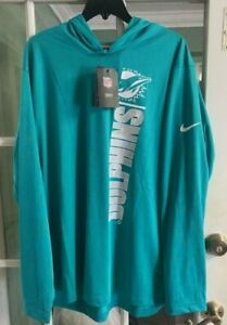 Men's Nike Miami Dolphins Hoodie Sweatshirt Green Comfort NKDF-3GT Size L NWT
